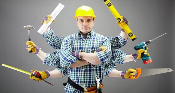 a builder with six arms coming out of him holding different tools