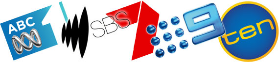 TV network logos - ABC, SBS, 7, 9 and ten