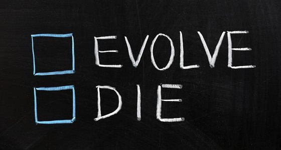 'Evolve' and 'Die' written on chalkboard with empty tick boxes beside the words